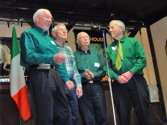 The Three Nice Guys Quartet also included Jim Degnan (right) in close barbershop harmony.
